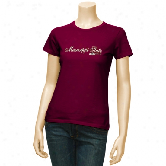 Mississippi State Bulldogs T Shirt : Mississippi State Bulldogs Maroon Ladies Scripted University Mom T Shirt