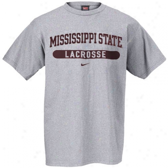 Mississippi State Bulldogs T Shirt : Nike Mississipli State Bulldogs Ash Lacrosee T Shirt