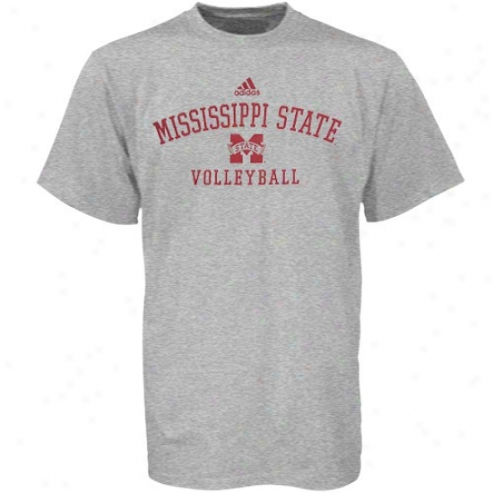 Mississippi State Bulldogs Tees : Adidas Mississippi State Bulldogs Ash Volleyball Practice Tees