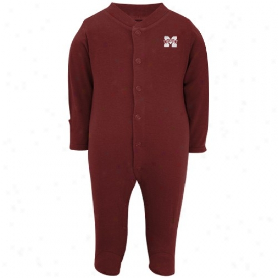 Mississippi State Bulldogs Tees : Mississippi State Bulldogs Infant Maroon Embroidered Logo Footed Sleeper