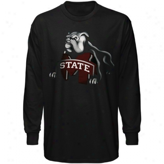 Misaissippi State Bulldogs Tshirt : Mississippi State Bulldogs Youth Black Blackout Long Sleeve Tshirt