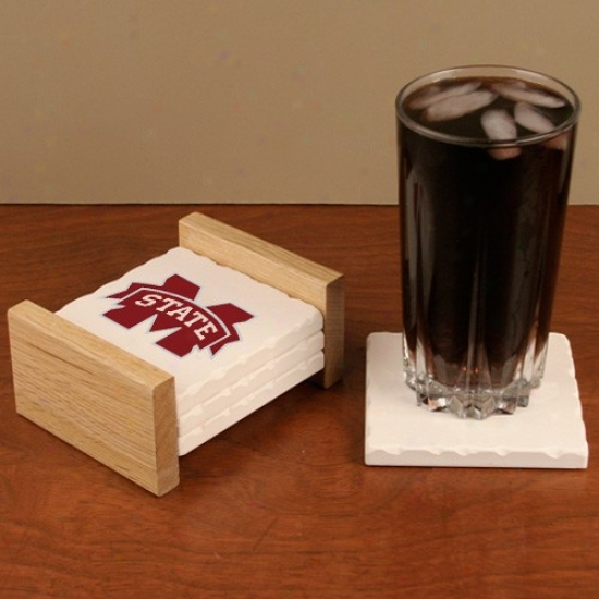 Mississippi State Bulldogs White 4-pack Tumbled Stone Coqsters & Hardwood Holder
