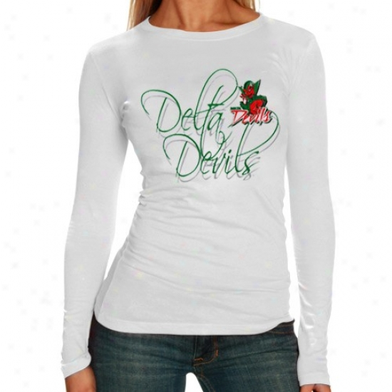 Mississippi Valley State Delta Devils Tee : Mississippi Valley State Delta Devils Ladies White Script Long Sleeve Tee