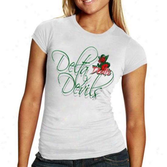 Mississippi Valley Condition Delta Defils Tshirts : Mississippi Valley State Delta Devils Ladies White Script Tshirts