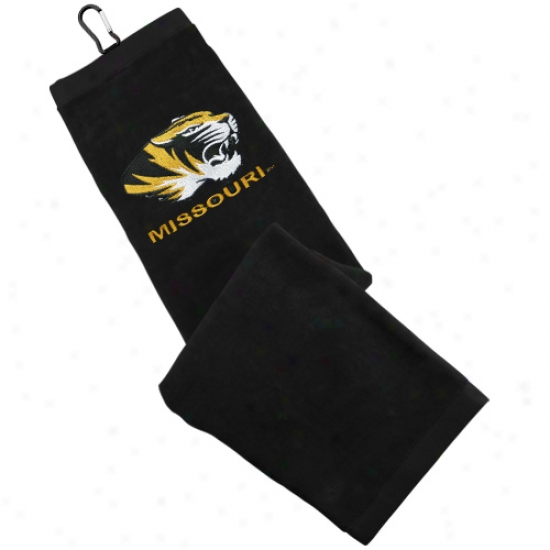 Missouri Tigers Black Embroidered Golf Towel
