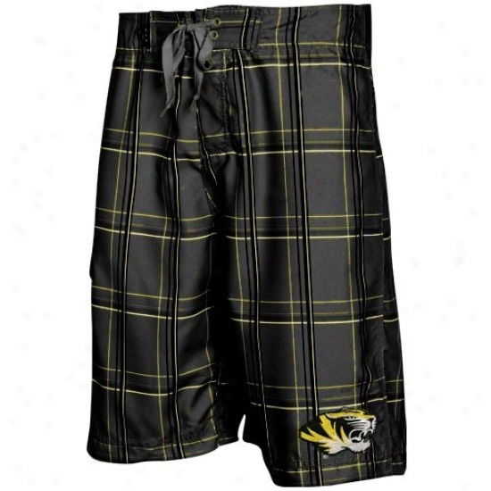 Missouri Tigers Black Plaid Slugger Boardshort