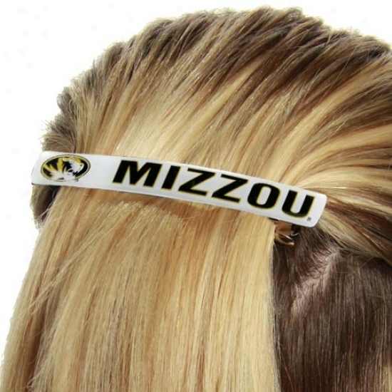 Missouri Tigerq Ladies White 2-pack Team Logo Jumbo Barrettes