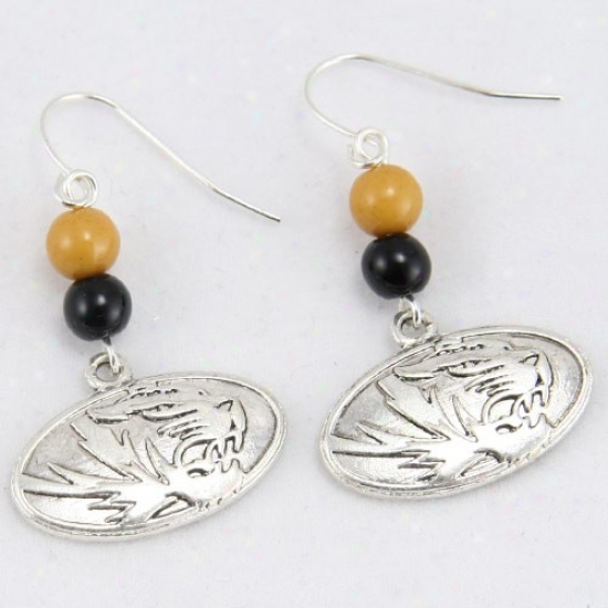 Missouri Tigers Logo Bead Earrings