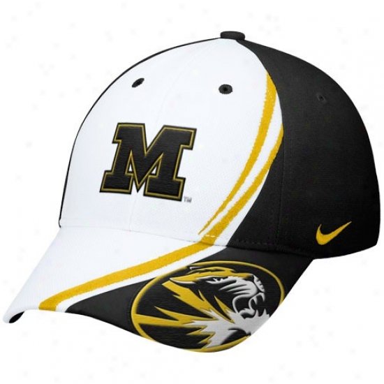Missouri Tigers Merchandise: Nike Missouri Tigers White Conference Red Zone Flex Fit Hat