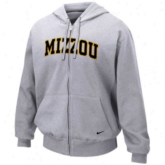 Missouri Tigers Sweatshirts : Nike Missouri Tigers Ash Classic Full Zip Sweatshirts