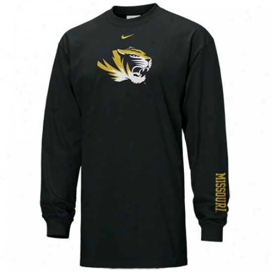 Missouri Tigers Tees : Nike Missouri Tigers Black Classic College 2 Long Sleeve Tees