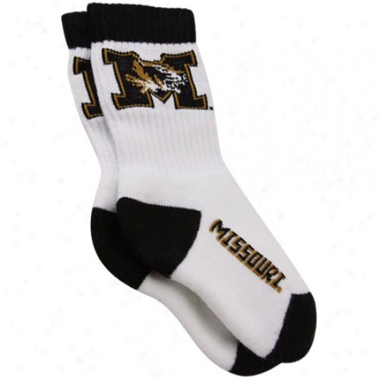 Misxouri Tigers Toddler White Crew Socks