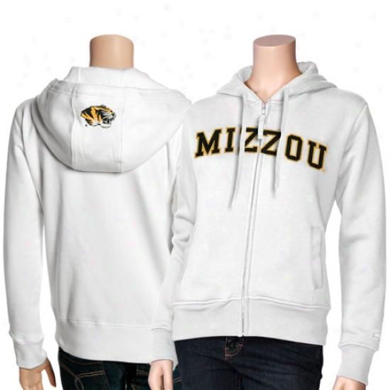 Mizzou Tiger Hoodie : Mizzou Tiger Ladies White Titan Satiated Zip Hoodie