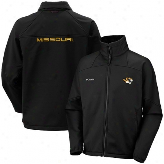 Mizzou Tigers Jackets : Columbia Mizzou Tigers Black Goal Lineage Softshell Full Zip Jackets