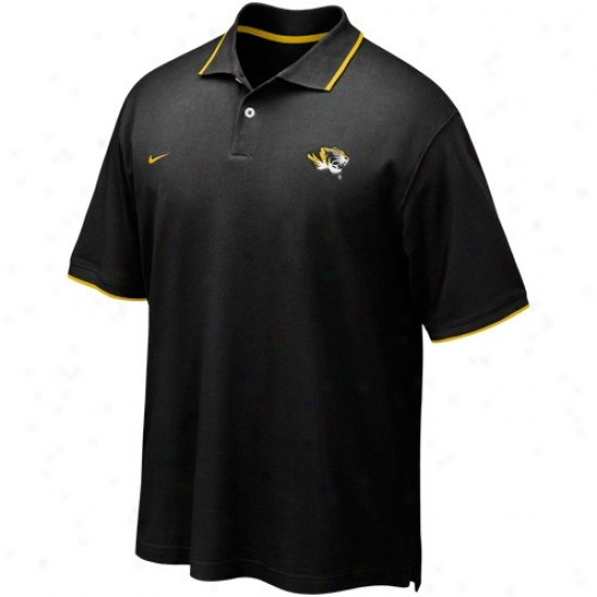 Mizzou Tigers Polo : Nike Mizzou Tigers Black Pique Polo