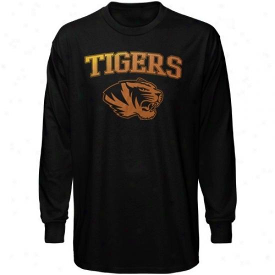 Mizzou Tigers T-shirt : Mizzou Tigers Black Universal Mascot Long Sleeve T-dhirt