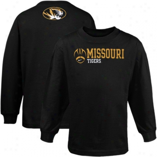 Mizzou Tiigers Tees : Nike Mizzou Tigers Preschool Black Practice Far-seeing Sleeve Tees