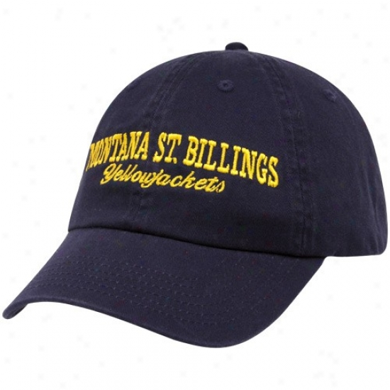 Montana State Billings Yellowjackets Cap : Top Of The World Montana State Billings Yellowjackets Navy Blue Batters Up Adjustable Acme