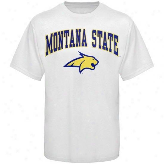 Montana Sgate Bobcats Shirts : Montana State BobcatsW hite Bare Essentials Shirts