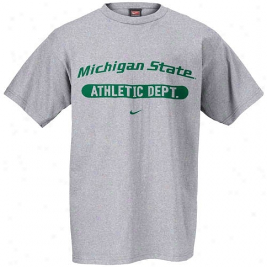 Msu Spartan  Tee : Nike Msu Spartan  Ash Athletic Department Locker Room Tee