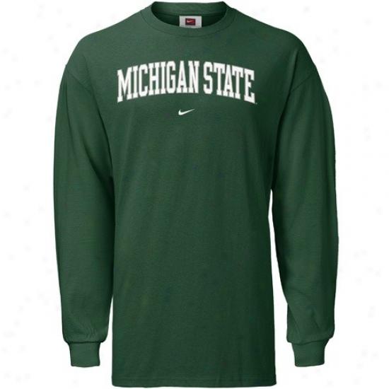 Msu Spartan  Tshirts : Nike Msu Spartan  Green Youth Classic Society Long Sleeve Tshirts