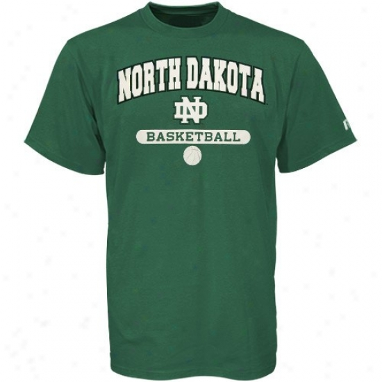 N. Dakota Fighting Sioux Tshirt : Russell North Dakota Fighting Sioux Green Basketball Tshirt