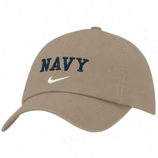 Navy Midshipmen Hats : Nike Navy Midshipmen Khaki Heritage 86 Campus Adjustable Hats