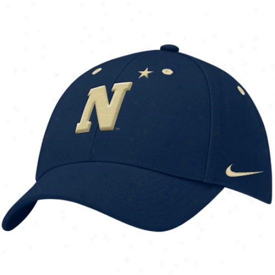 Navy Midshipmen Hats : Nike Navy Midshipmen Navh Blue Lacrosse Swoosh Structured Flex Fit Hats
