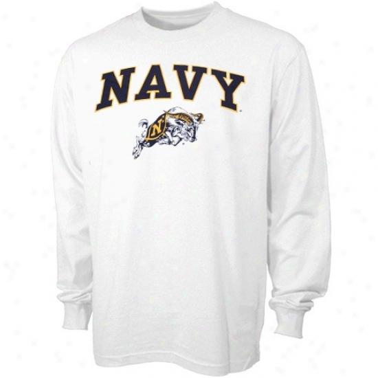 Navy Midshipmen T Shirt : Navy Midshipmen White Bare Essentials Long Sleeve T Shirt