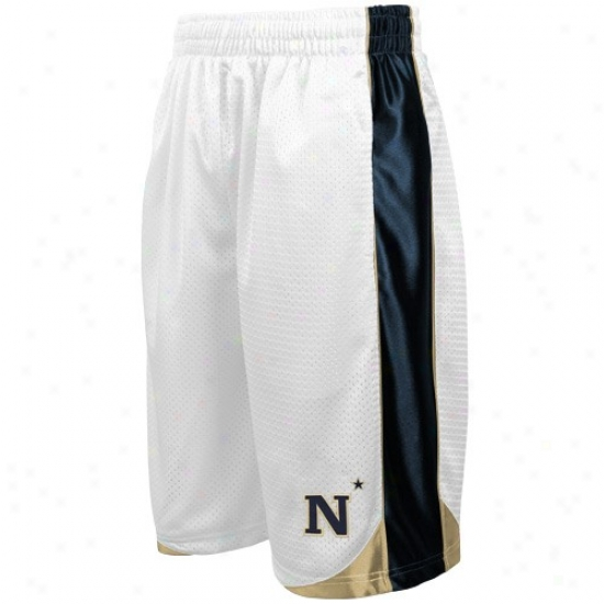 Navy Midshipmen Youth White Vector Workout Shorts