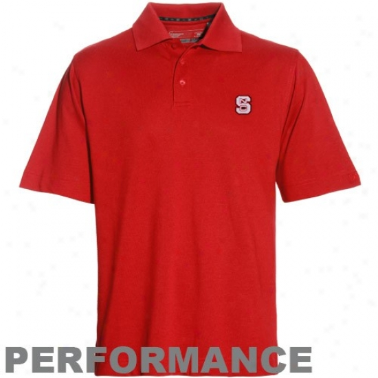 Nc State Wolfpack Golf Shirt : Cutter & Buck North Carolina State Wolfpack Red Drytec Championship Performance Golf Shirt