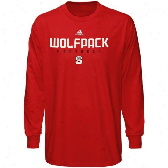 Nc State Wolfpack Shrit : Adidas Nortj Carolina State Wolfpack Youth Red Sideline Long Sleeve Shirt
