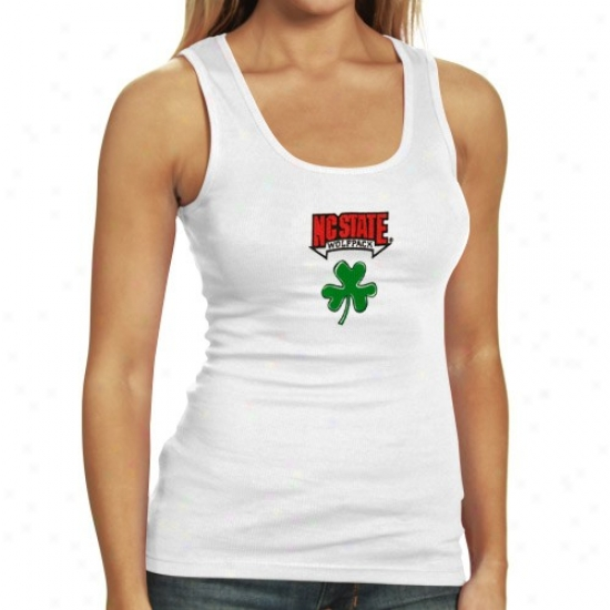 Nc State Wolfpack Tshirt : North Carolina State Wolfpack Ladies White Fortune Tank Top