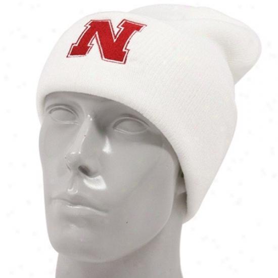 Nebraska Cornhusker Cap : Adidas Nebraska Cornhusker White Basic Logo Cuffed Knit Beanie