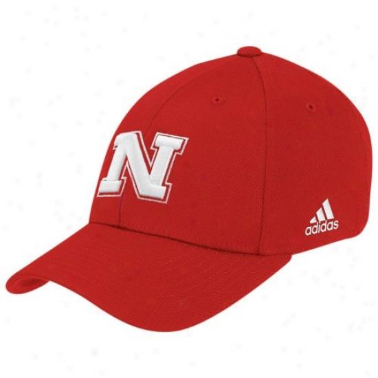 Nebraska Cornhusker Hat : Adidas Nebrasak Cornhusker Scarlet Basic Logo Flex Fit Hat