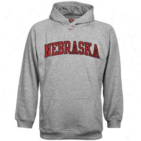 Nebraska Cornhusker Sweatshirt : Nike Nebraska Cornhusker Ash Youth Classic Sweatshirt