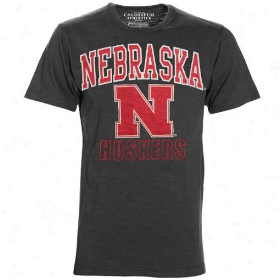 Nebraska Cornhusker Tees : Nebraska Cornhusker Charcoal Outfield Tees
