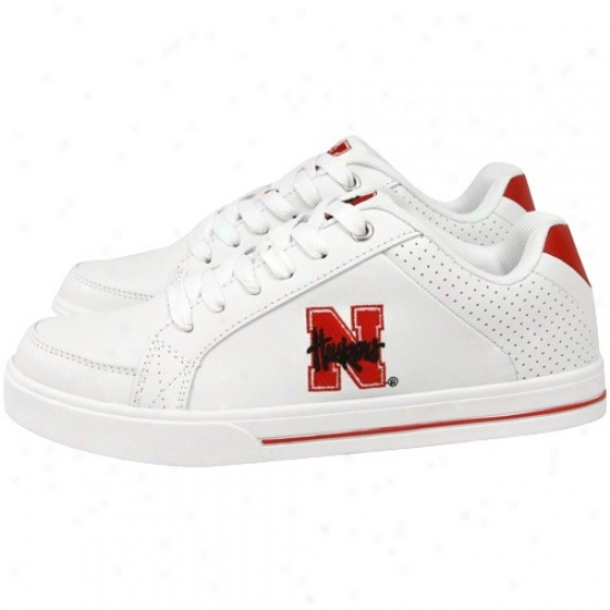 Nebraska Cornhuskers Ladies White Team Logo Leather Tennis Shoes