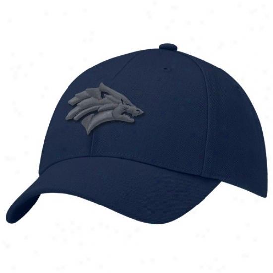 Nevada Wolf Pack Caps : Nike Nevada Wolf Pack Navy Blue Swoosh Flex Caps