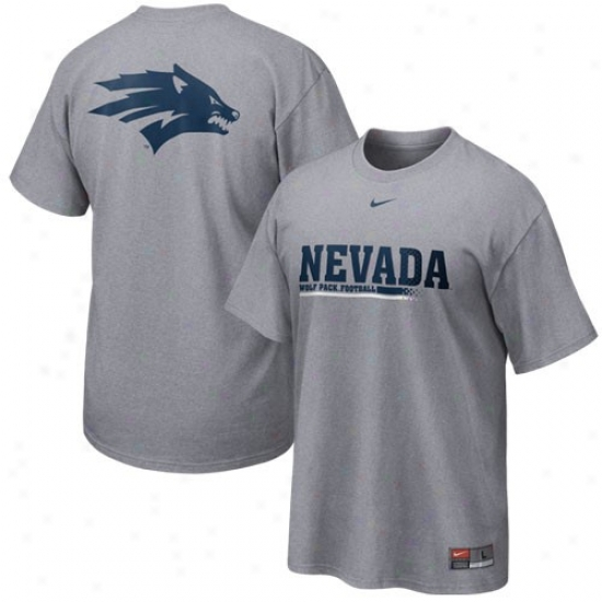 Nevada Wolf Pack Tshirts : Nikes Nevada Wolf Pack Ash 2010 Exercise Tshirts