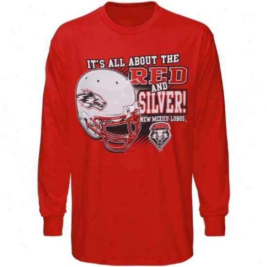 New Mexico Lobos Atttire: New Mexico Lobos Cherry All About Red & Silver Lingering Sleeve T-shirt