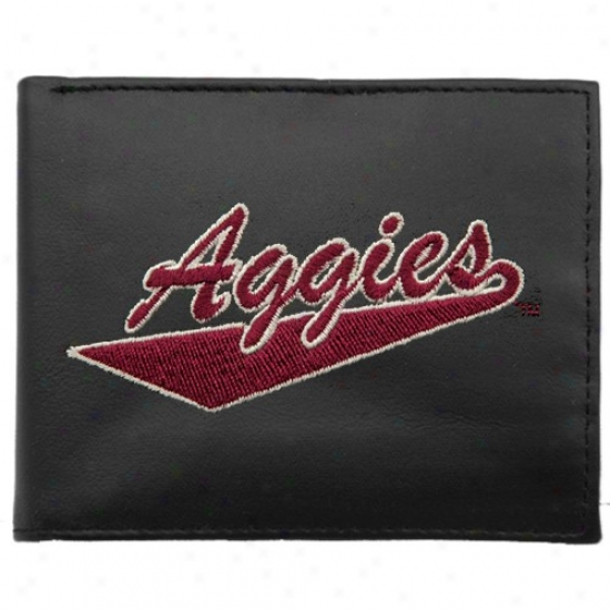 Starting a~ Mexico Express  Aggies Black Embroidered Billfold Wallet