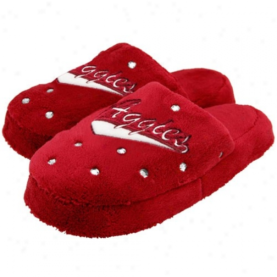New Mexico State Aggies Ladies Crimson Fuzzy Rhinestone Slippers