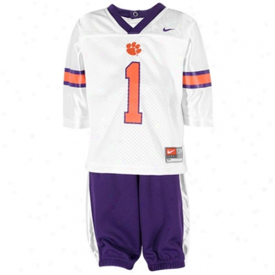 Nike Clemson Tigers Infant White-purple Jogging Two-piece Set