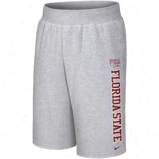 Nike Florida State Seminoles (fsu) Ash Collegiate Fleece Shorts