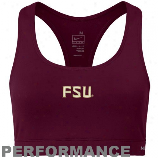 Nike Florida State Seminoles (fsu) Ladies Garnet Dri-fit Sports Bra