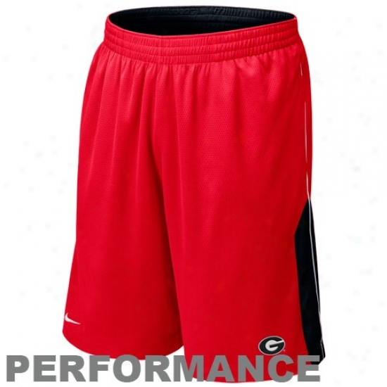 Nike Georgia Bulldogs Red-back Reversible Composition Basketball Shorts
