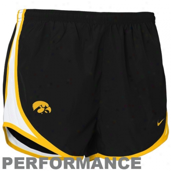 Nike Iowa Hawkeyes Ladies Black Nikefit Tempo Performance Trwinign Shorts