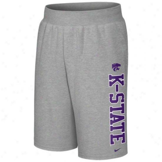 Nike Kansas State Wildcats Ash Collegiate Fleece Shorts