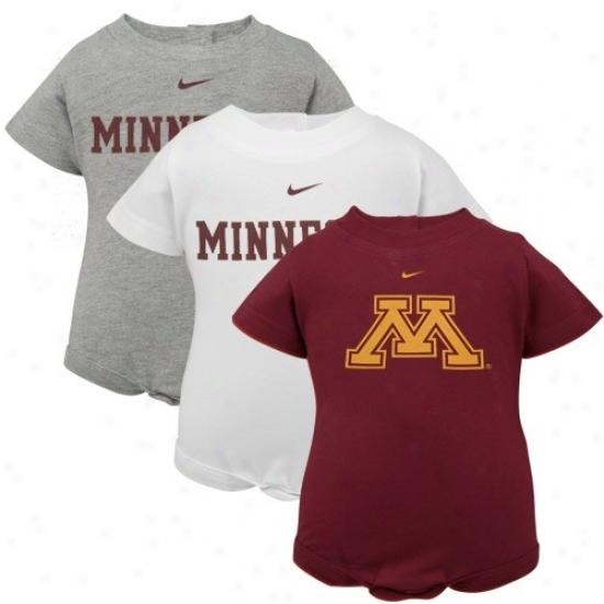 Nike Minnesota Golden Gophers Infant Maroon, White & Ash 3-pack Creepre Set